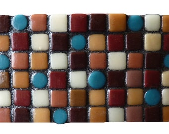 Colorful Abstract Mosaic Belt Buckle Recycled Glass Belt Buckle
