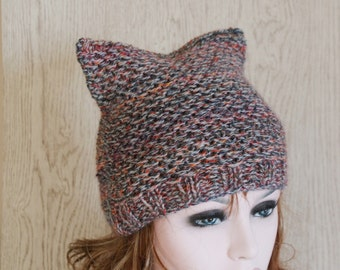 Small Size Teens Womens Knitted Cat Hat Chunky Knit Beanie