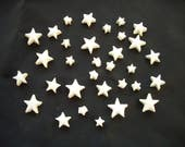 31SBT - TINY White STARS  - Ceramic Mosaic Tiles