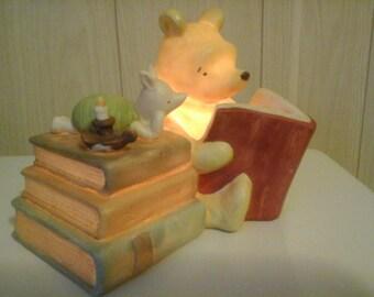Pooh and Piglet Ceramic Night Light Lamp 1970's