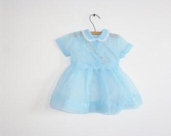 Vintage Light Blue Sheer Baby Dress