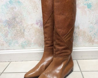 Vintage tan suede leather high shaft boots, sz 6.5 British tan suede/leather block pattern casual boot, Paloma reptile embossed flat boots