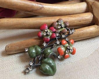 Vintage multi colors enamel flowers brooch, coral pink plum green flowers pin, tiny crystals multi color flower brooch pin