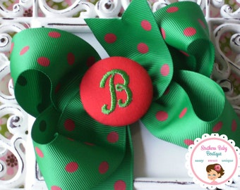 New Item---Boutique Monogrammed Baby Toddler Girl Hair Bow Clip---POLKA DOTS---Emerald Green & Red---Letter B---Ready to Ship