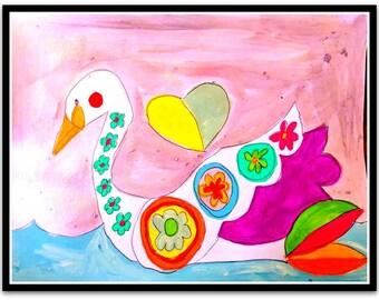 Happy Swan Folk Art Happy Art Kids Art 9x12 Acrylic Paint on Watercolor Paper Original whimsical Art
