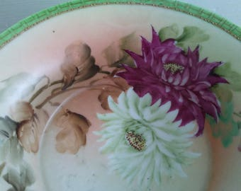 Antique Nippon Hand Painted Porcelain Bowl with Moriage Beading-Dahlias