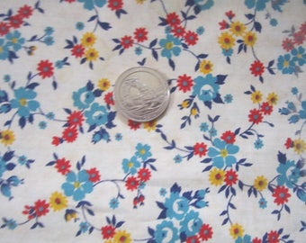 """Vintage 1930s/40s Perfect Unused Cotton Fabric 35"""" by 2 Yards Red Blue Yellow Tiny Floral Print No.2"""