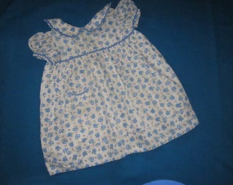 Vintage 1930s/40s Cotton Little Girl's Dress Made from Blue Floral Print Feedsack Fabric