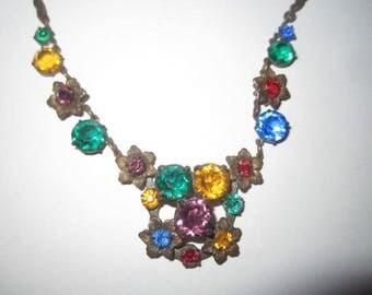 Vintage 1920s Art Deco Colorful Czech Glass Faceted Necklace