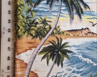 Vintage Hoffman cotton Tropical Ocen Beach print almost 1-2/3yd