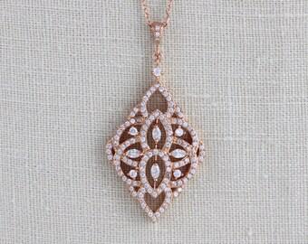 Rose gold Bridal necklace, Crystal Wedding necklace, Bridal jewelry, Rose gold pendant necklace, Art Deco necklace, Swarovski necklace EMILY