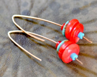 Red Coral - Turquoise Earrings. Sterling Silver Earrings. Disk Stacks Earrings. Hand Forged Earrings. Simple  Earrings.