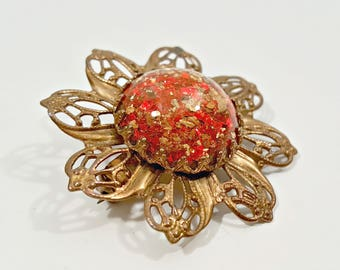 Vintage Cabochon Brooch, Red and Gold Fleck Cabochon Bronze Tone Filigree Flower Brooch, Art Nouveau Style Glitter Cab Floral Scatter Pin