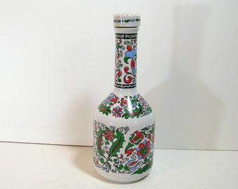 Vintage Porcelain Decorated Greek Liqueur Bottle with Stopper, Metaxa