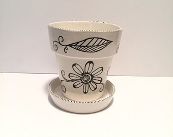 hand painted black and white ceramic flower pot