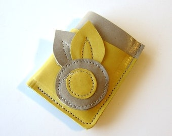 Leather Wallet 3 Triple Pocket - Larger Size - Flower with Double Leaves Lemon Yellow over Dove Grey