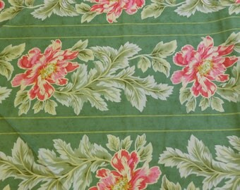 Moda Fabric - CLEARANCE SALE - April Cornell Portugal Border Stripe - Green with Pink Flowers - 2 3/4 Yards