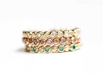 Diamond Wedding Band - Recycled 14k Gold - Beaded Diamond Stacking Ring - Bezel Set Diamond Ring