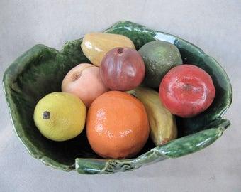 Fruit Bowl whimsical handbuilt pottery fruits and vegetables rattles cornucopia