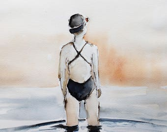 original watercolor painting - swimmer - indigo and copper
