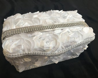 Boutique Baby Wipe Case - White Roses Covered Wipes Tub with Gray Ribbon