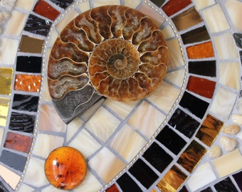 Stained Glass, Mosaic, Ammonites, Earth Tones