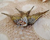 Vintage Bird Trinket Box Enamel Rhinestone Metal Display Keepsake Home Decor