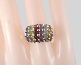 Rainbow Ring, Gemstone Ring, Multi Stone, Blue Topaz Ring, Sterling Silver, Domed, Peridot Amethyst, Garnet Citrine, Size 7, Statement