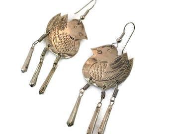 Bird Earrings, Etched, Vintage Jewelry, Duck, Dangles, Pierced, Large, Silver, Tin, Long, Massive, Lightweight, Boho Statement, Hippie, Big