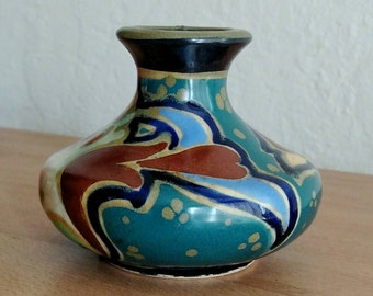 "Gouda Style Pottery / Made in Japan / Ceramic Vase / Hand painted / Art Deco / Bohemian home / Small Vase / 1930s / Multicolored / 3"" tall"