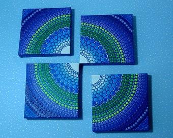 Mini mandala 3x3 canvas-original 4 pc paintings-neon dot art-moon reflected-mandala wall decor-pointillism-hippie boho tribal-glow in dark