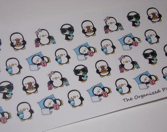 34 Relax and Chill Penguin Stickers / Great for your Erin Condren Life Planner!
