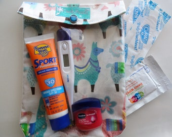 Llama Ouch Pouch Clear Front First Aid Baby Toddler Mom Supplies Organizer Diaper Bag Purse Travel (Medium 5x7 Vinyl & Alpaca Fabric)