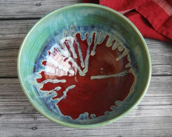 Extra Large Serving Bowl with Dripping Green and Red Glazes Handmade Stoneware Pottery Bowl Ready to Ship Made in USA