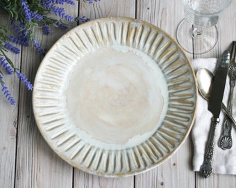 Dinnerware Set of Six Extra Large Dinner Plates in Creamy White Glaze Stoneware Handcrafted Carved Dishes Made in USA