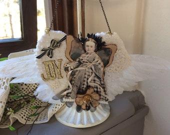 Angel Wing Ornament - Angel Tree Ornament - Heart Ornament - Joy Ornament