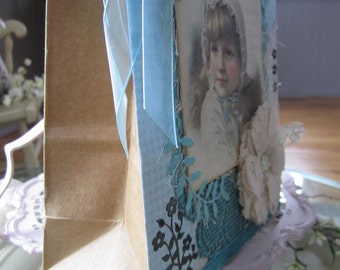 Decorative Blue Gift Bag - Victorian Gift Bag - Young Girl Gift Bag