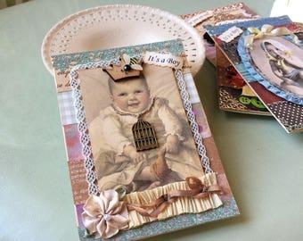 Handmade Baby Boy Card - Vintage-style Baby Boy Card - Welcome Baby Boy