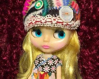Blythe doll Hat embellished felted wool One of a kind handmade vintage buttons wool yarn
