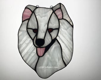 American Eskimo Suncatcer in Stained Glass