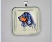Black and Tan Coonhound Dog Fine Art Glass Pendant
