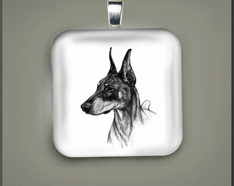 Doberman Dog Fine Art Glass Pendant