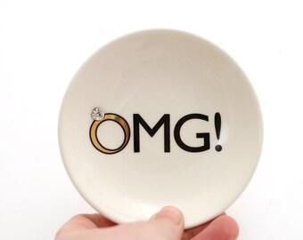Mrs wedding ring holder , ceramic ring dish , engagement party , OMG with gem insert - bridal shower gift under 20