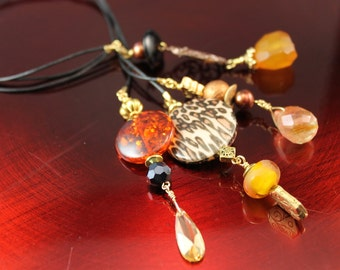 My Shitzu Bites Leather Three Strand Bookmark - Beaded, Agate, Filigree, Gold Tone Beads, Cubic Zirconia Briolette, Animal Print