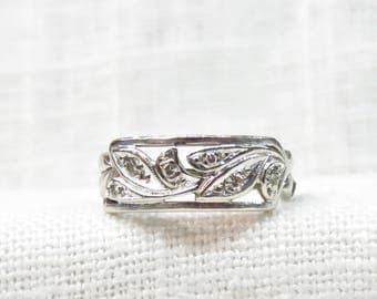 Art Deco Wedding Ring in 14k White Gold and Diamonds; Vintage Wedding Band or Stacking Ring from the 1920s