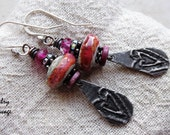 Shabby Chic Crusty Pink Glass and Pewter Heart Charm Earrings, Sparkly Valentine Grungy Chic Pewter and Pink Glass Earrings