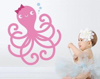 Happy Octopus Wall Decal Ocean Baby Nursery Cute Sea Life Underwater Theme Nautical Kids Room Decor Under the Sea Kawaii Wall Sticker
