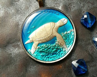 Turkey - Turtle Coin Pendant - Hand Painted