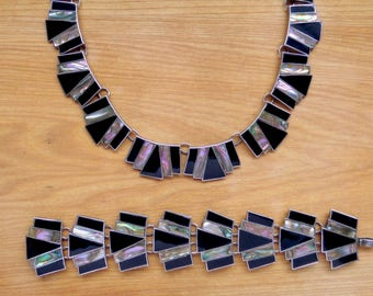 Mexican Sterling Necklace.  Abalone & Obsidian. 1940s Taxco.