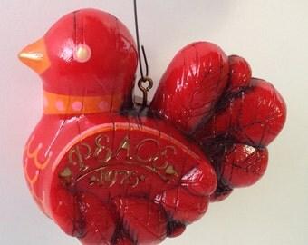 Red Bird Ornament, 1976 Peace Bird Ornament